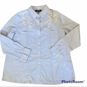 DKNY Embroidered Buttoned Down Long Sleeve M